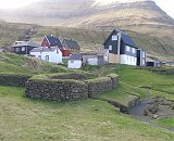 Thr ruins from Viking Age in the village Leirvik