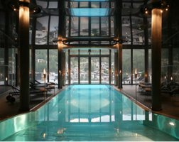 The indoor / outdoor pool at The Omnia