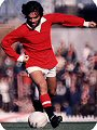 George Best wears the 1970's Manchester United kit