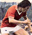 Stuart Pearson wears the 1975 Manchester United Admiral kit