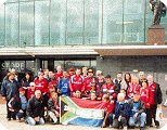 South African Manchester United fans outside Old Trafford